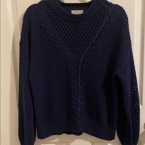 NAVY CABLE KNIT SWEATER BY 1. STATE